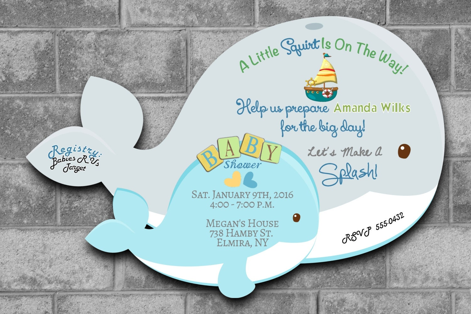 Whale Baby Shower Invitations Nautical Baby Shower Invitations