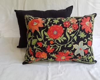 Red Floral Print Pillow