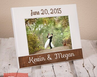 Personalized Wedding Picture Frame With Date - Wedding Date - Anniversary Gift - Anniversary Date - Wood Engraved-Personalized Wedding Gift