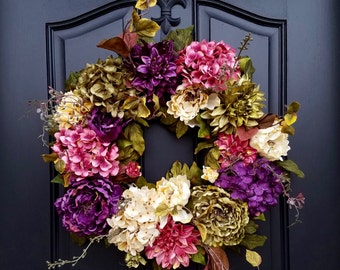 Porch Wreaths, Hydrangea Wreaths, Spring Door Wreaths, Spring Wreaths, Summer Wreaths, Wreaths for Spring, Pink Hydrangea Wreath