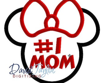 Mickey Head - Minnie #1 MOM - 3 sizes, 7 formats - Embroidery Machine Design Applique - Instant Download - David Taylor Digitizing