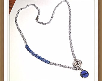 Handmade MWL blue and silver necklace. 0281