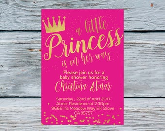 Little Princess Baby Shower Invitation Girl Princess pink and gold invite Baby Girl Shower Invitations Pink Shower Invitation 1st Birthday
