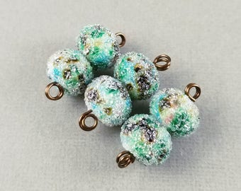 Loch Vale Sugar - Frosted Lampwork Bead Pair Iced Sugared - Artist Handmade