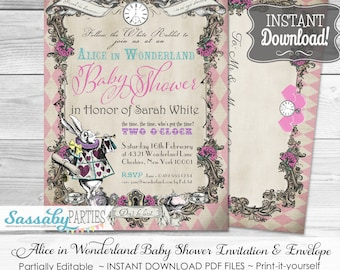 Alice in Wonderland Baby Shower Invitation - Pink Harlequin - INSTANT DOWNLOAD -  partially Editable & Printable Party Invite