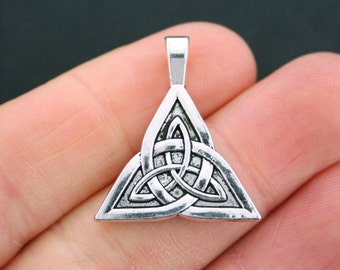 2 Celtic Knot Charms Antique Silver Tone 2 Sided Trinity - SC5379