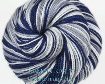 "Dyed to Order: Self striping sock yarn - ""BLUE - GRAY - WHITE"" Handdyed yarn - Football Baseball Sports School colors - Dallas, Connecticut"