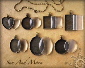 Cabochons Settings Jewelry Antique Bronze DiY KITS ~ 7 Sets ~ Bezel, Necklace, Premium FX Glass Pieces ~ Photo Jewelry Charm Pendant Trays