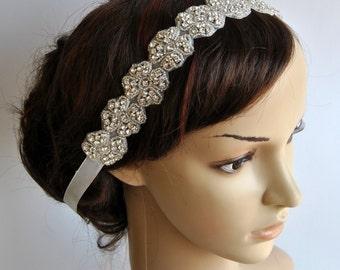 Bridal floral Rhinestone Tie on Headband headpiece, Headband, Wedding Headband, ribbon headband, Bridal rhinestone head piece