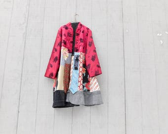 Upcycled Jacket, Duster Coat, Ladies Jacket, Women's Clothing, Reclaimed, Boho, Bohemian, Overcoat, Pink Coat, CreoleSha