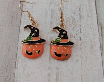 Pumpkin earrings, Halloween earrings, autumn earrings, hoilday earrings, fall earrings, gothic earrings, Thanksgiving earrings,