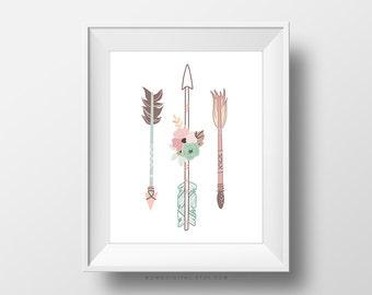 SALE -  Pastel Floral Arrows, Set Of Three Arrows, Modern Illustration, Blue Pink Brown, Baby Girl Nursery, Contemporary, Dorm Wall Art