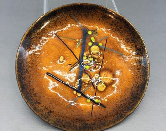 "Vintage Abstract Mid Century Copper Enamel Decorative 5.5"" Art Plate"