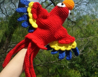 Scarlet Macaw Hand Puppet Crochet Pattern PDF INSTANT DOWNLOAD