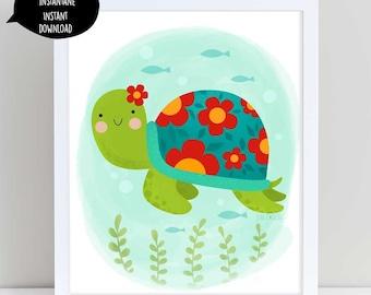 Turtle, turtle art, turtle poster, sea turtle, turtle decoration, nursery wall art, turtle wall art, kids wall art, digital turtle, ocean