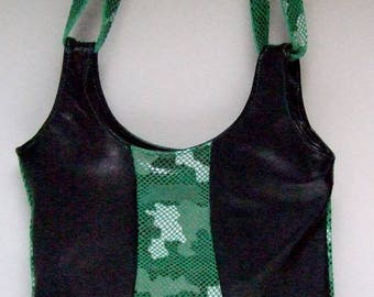 Bag leather green and black