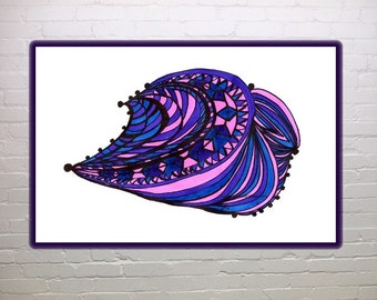 Abstract wall art, Many Paths, print, blue, pink, lavender, home decor, office decor, shells, marine art