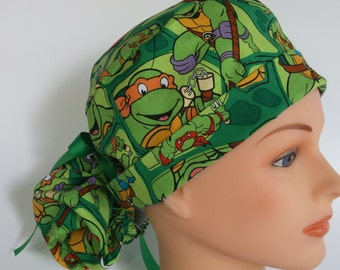 Ninja fabric Turtles Ponytail - Womens lined surgical scrub cap, scrub hat, nurse surgical hat, 38+222 W