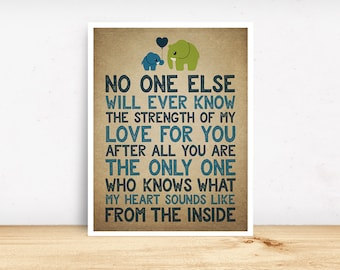 No One Else Will Ever Know The Strength Of My Love For You, Nursery Wall Art, Baby Room Art, Baby Boy, Cute Elephants, Love, Mother and Son