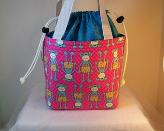 Monkeys Insulated Lunch Sack, Drawstring Lunch bag, Lunch cooler, Cosmetic bag, Make up Kit, Small purse