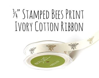 """Bee Ribbon, 3/4"""" Ribbon, Bees Print Cotton Ribbon, Black and Ivory Gift Ribbon, Gift Wrapping, Decorative Ribbon, Packaging Supply, Canvas"""
