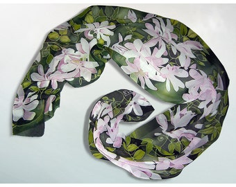 long silk scarf - Clematis Flowers scarf - hand painted scarves Art Nouveau pale pink floral scarf - plant garden gift - fourth anniversary