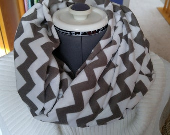 READY TO SHIP Chevron Flannel Infinity Scarf, Cowl Flannel Scarf, Gray & White Chevron Infinity Scarf, Winter Accessories