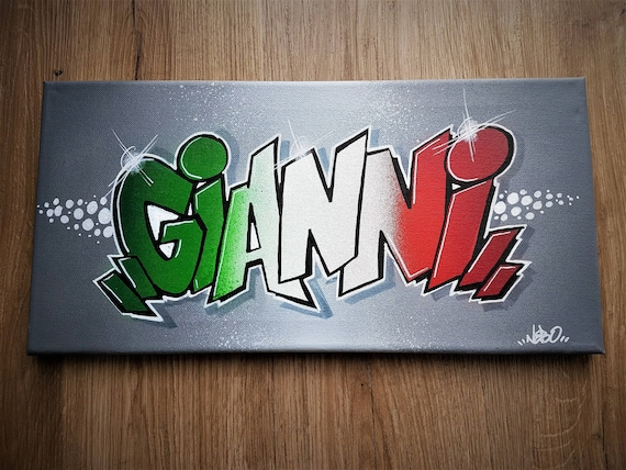 Tableau toile graff tag pr nom d coration art murale chambre - Tag prenom gratuit ...