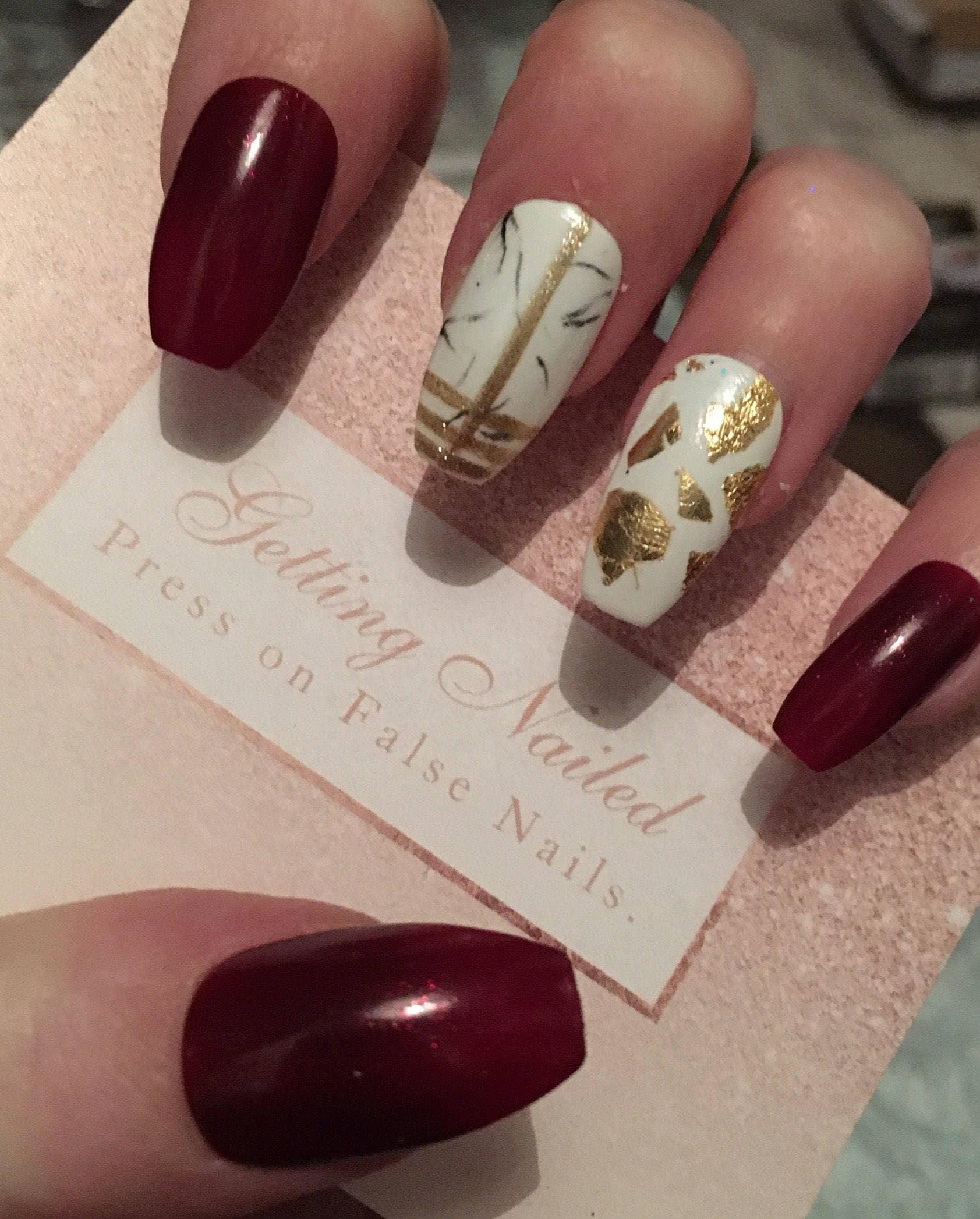 False nails set, Burgundy false nails, gold false nails, marble ...