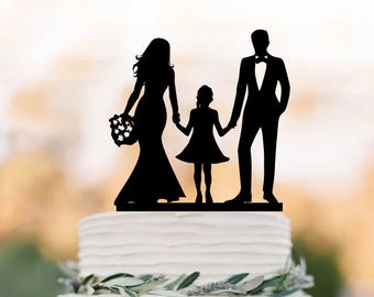 family Wedding Cake topper with doughter, bride and groom with girl  wedding cake toppers,  toppers with child silhouette