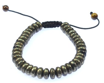 Rondelle Pyrite beads Gemstone Bracelet - wear for protection and Energy- 91003