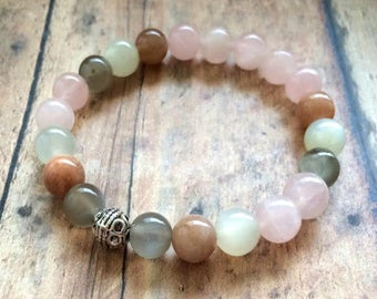 Fertility Bracelet, Moonstone Fertility Bracelet, Moonstone Rose Quartz Bracelet, TTC Hope Bracelet, Fertility Journey Jewelry