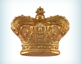 1 Brass CROWN Fancy Raw Brass Stamping Dapped ~Jewelry Finding, Embellishment 35mm AMERICAN MADE