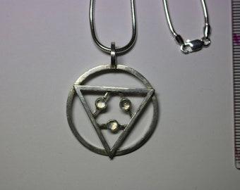 Silver and Moonstone geometric pendant
