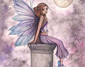 Low Hanging Moon Fairy Fantasy Original Fine Art Giclee Print by Molly Harrison - 12 x 16