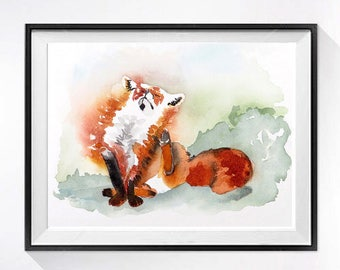 Fox Nature Art | Fox watercolor prints,  Nursery art, Nursery wall ar,t Woodland animal, Animal watercolor painting, Animal painting 1
