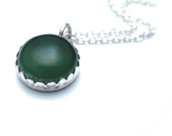 Serpentine Necklace featuring Green Gemstone with Silver, Gift for Mom, Gemstone Necklace