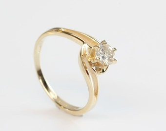 Diamond Engagement Ring-Solitaire 14K Yellow Gold Ring-0.40 Carats Women Jewelry-Handmade jewelry-Promise ring-Anniversary ring-For her