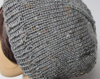 Silver Slouchy Beanie with Freckling