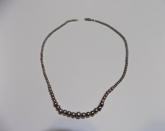16inch Graduated Sterling Silver beaded necklace