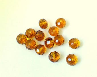 1 lot 5 flattened round faceted topaz 10x8mm beads