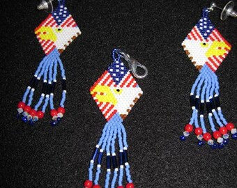 Native Style Flag & Eagle Earrings with Swarvoski