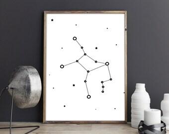 Virgo constellation art, Zodiac Virgo print, Printable zodiac art, Large constellation poster, Home wall prints