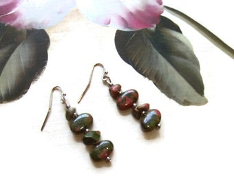 Green Pink Jasper Dangle Earrings, Boho Cairn Style, Earthy Gemstone Earrings, Simple Everyday, Go-To Handmade Earrings, 2 Inch