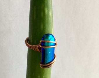 Wire Wrap Dichroic Glass Statement Ring