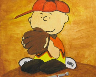 Children's Hand Painted Charlie Brown Baseball Picture