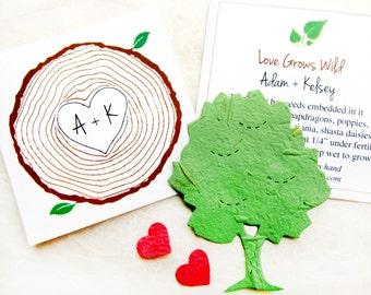 100 Seed Paper Trees Woodland Wedding Favors - Tree Ring Favor Cards Monogram Initials - Personalized Pantable Paper Seed Favor Cards