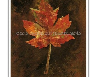 "Leaf art 8 x 10"" giclee, Maple leaf art, Kitchen wall art, Fall leaf collage, Acrylic leaf painting print, Autumn decor, Dining room art"