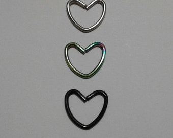 SAVE 50% CODE: '50FIRSTORDER' | Daith ~ Tragus Piercing | HEART Shaped ~ (3 Colours) | Available in Singles & Pairs