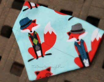 Cat Bandana - Reversible Bandana-Hipster Foxes/Red -Slip On Bandana-Pet Bandana-Slip Over the Collar Double Sided-Designer Fabric Bandana